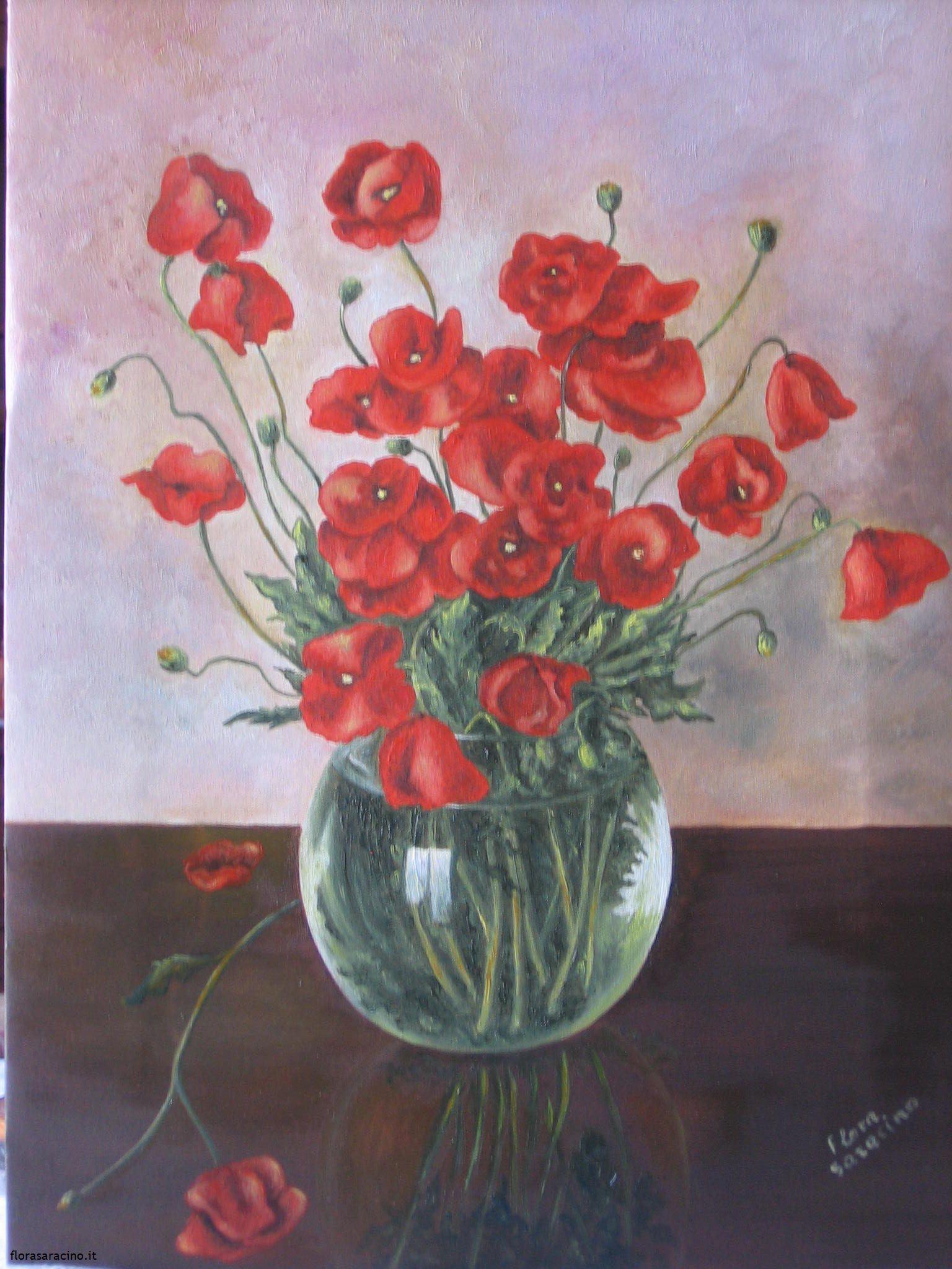 Vaso di papaveri flora saracino paintings dipinti for Quadri fiori olio
